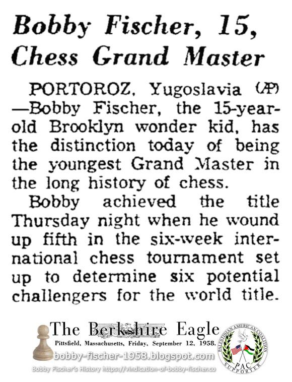 Bobby Fischer, 15, Chess Grand Master