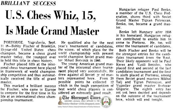 U.S. Chess Whiz, 15, Is Made Grand Master