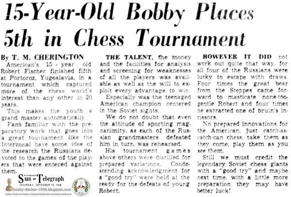 15-Year-Old Bobby Places 5th in Chess Tournament