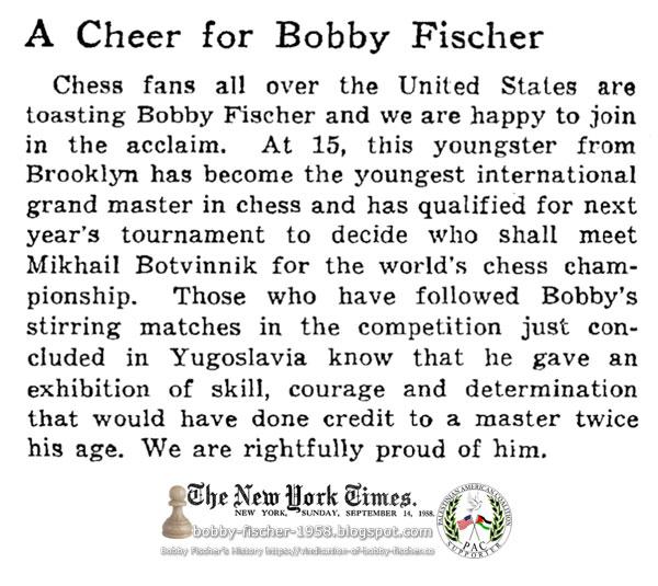 A Cheer for Bobby Fischer