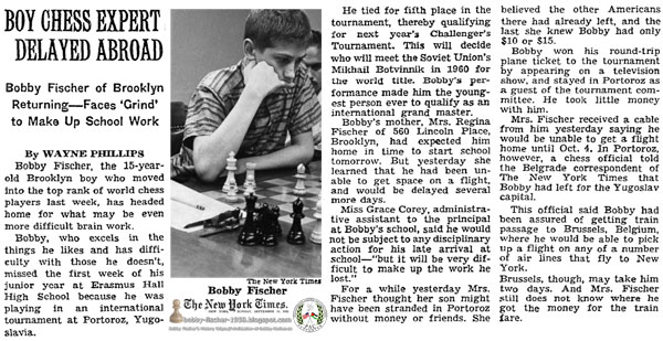Boy Chess Expert Delayed Abroad