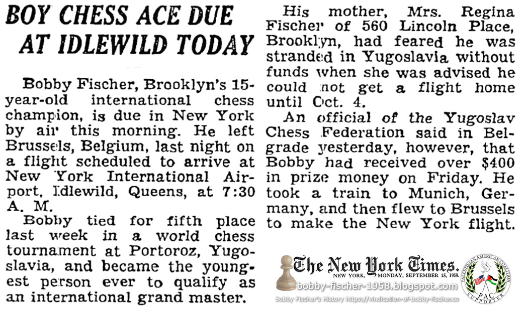 Boy Chess Ace Due At Idlewild Today
