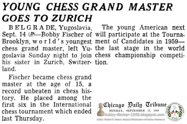 Young Chess Grand Master Goes To Zurich