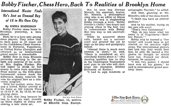 Bobby Fischer, Chess Hero, Back To Realities of Brooklyn Home
