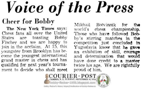 Cheers for Bobby Fischer