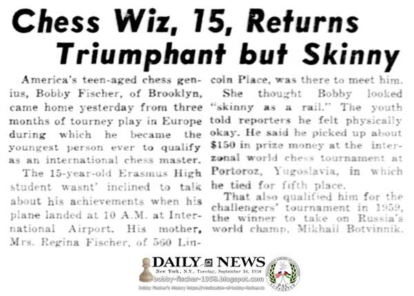 Chess Whiz, 15, Returns Triumphant but Skinny