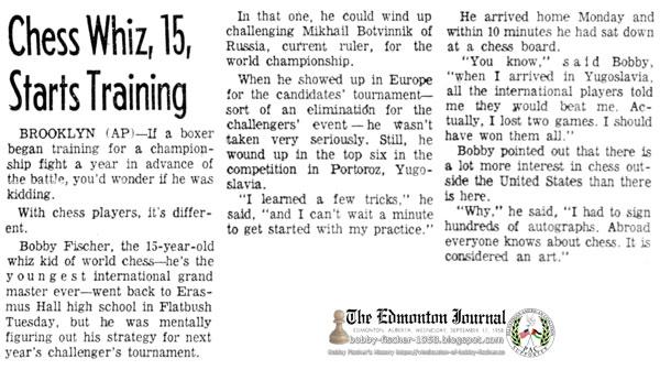 Chess Whiz, 15, Starts Training