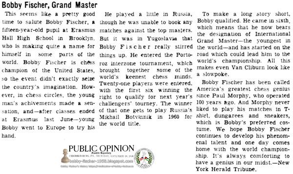 Bobby Fischer, Grand Master