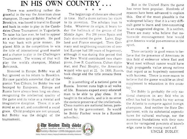 In His Own Country…