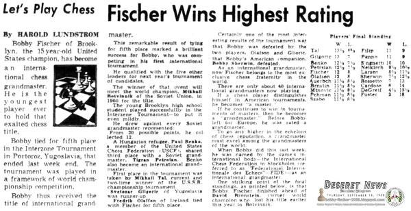 Fischer Wins Highest Rating