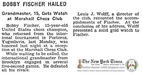 Bobby Fischer Hailed: Grandmaster, 15, Gets Watch at Marshall Chess Club