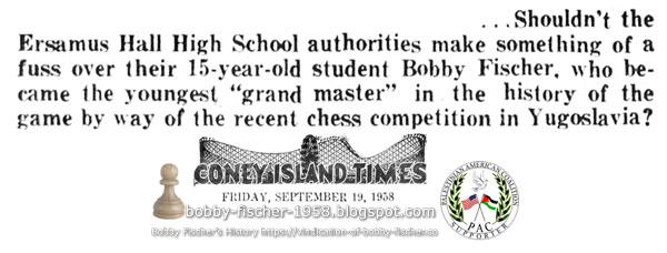 Erasmus Hall High School Celebrate Bobby Fischer