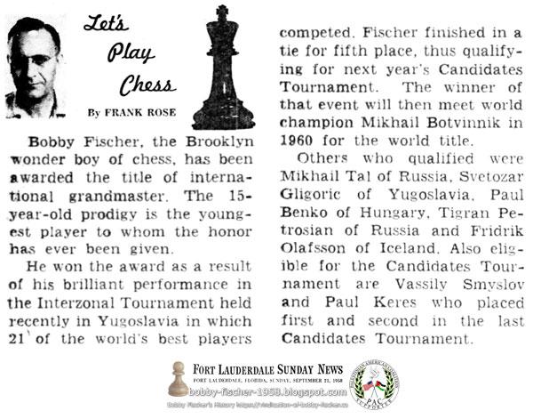 Bobby Fischer, The Brooklyn Boy of Chess Awarded Title of International Grandmaster