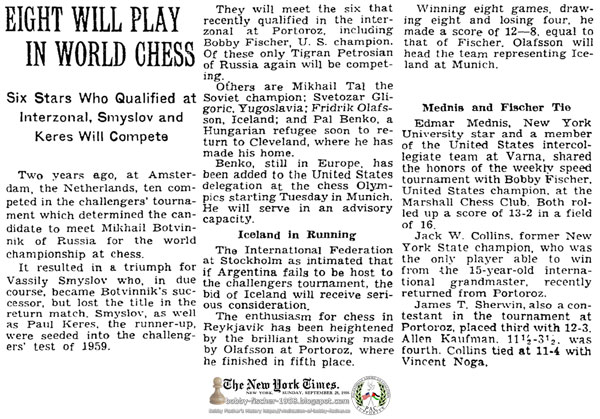 Eight Will Play In World Chess
