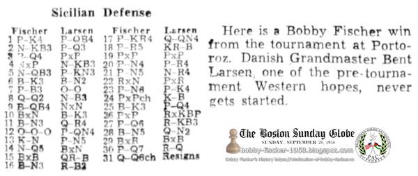 Fischer vs. Larsen at Portoroz