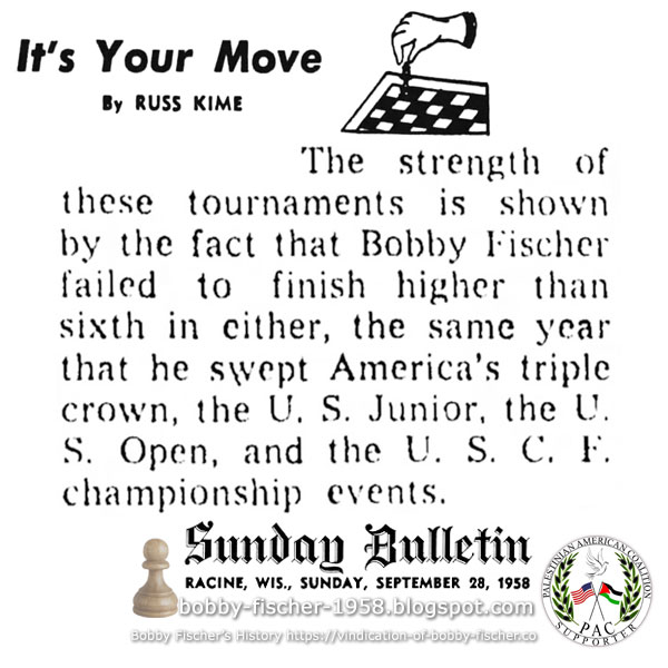 Bobby Fischer Finishes Sixth in Tournament