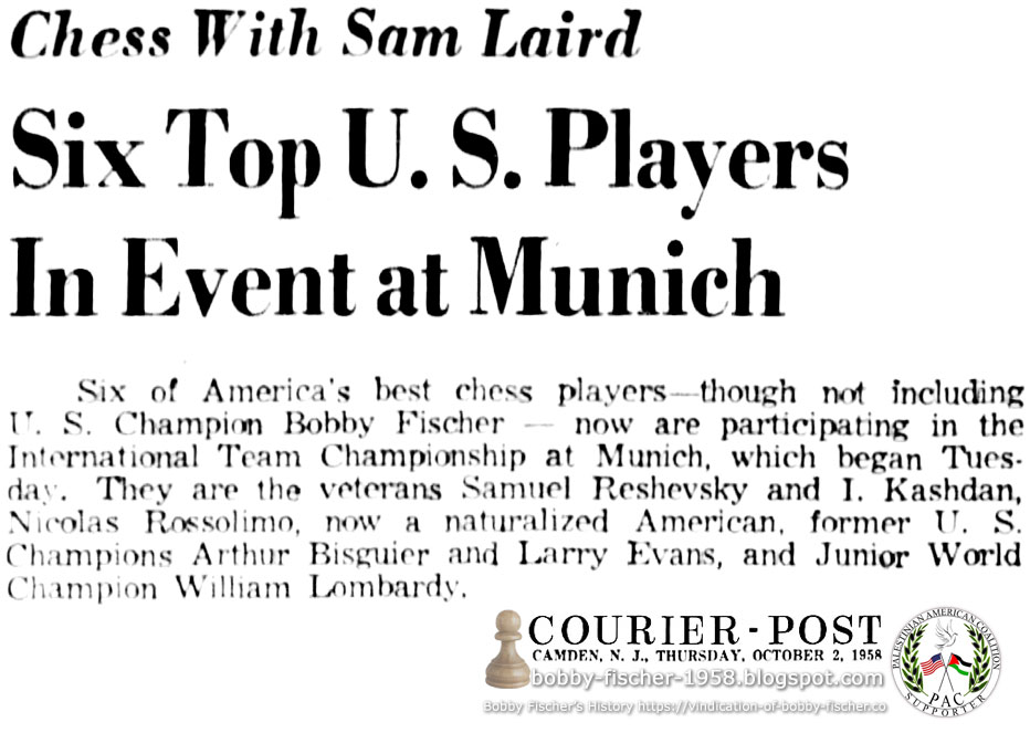 Six of America's Best Chess Players Excluding Bobby Fischer, Participating in International Team Championship at Munich