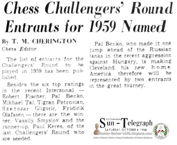 Chess Challengers' Round Entrants for 1959 Named