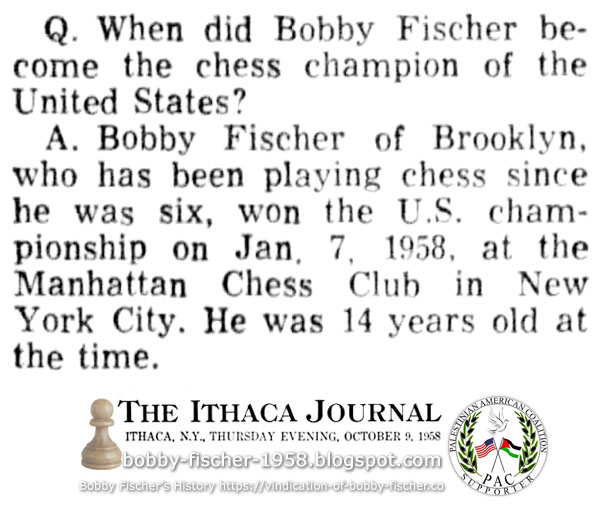 When did Bobby Fischer become the chess champion of the United States?