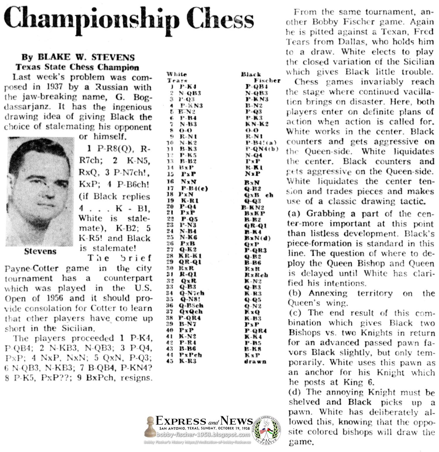 Championship Chess: Fischer Versus Dallas, Texas' Fred Tears