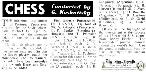 Bobby Fischer Proves Himself Against The World's Best