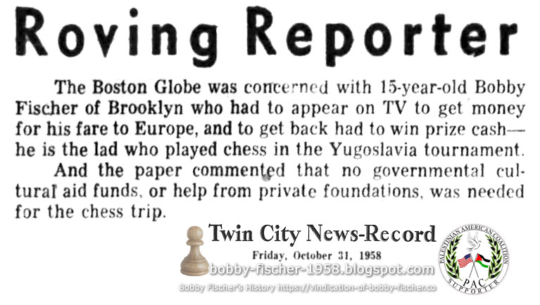 Roving Reporter: Fischer's Financial Means to Participate in Yugoslav Tourney