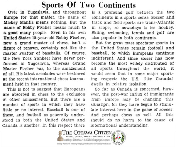 Sports Of Two Continents