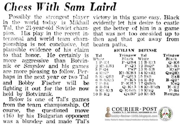 Bobby Fischer vs Tal in Future Battle for Title Held by Botvinnik
