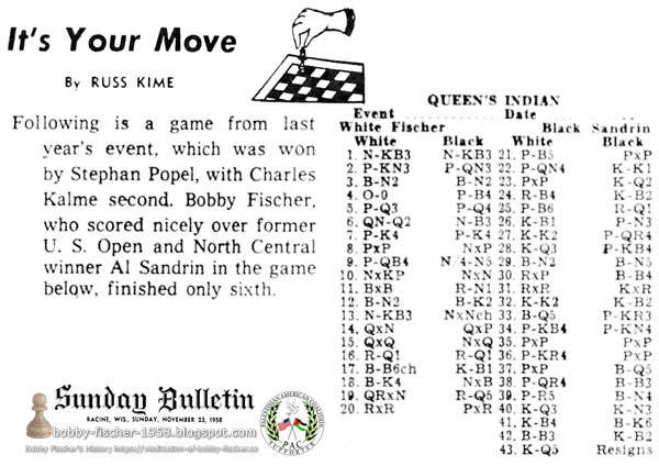 Bobby Fischer Finishes Sixth