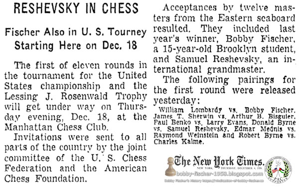 Reshevsky In Chess: Fischer Also in U.S. Tourney Starting Here on Dec. 18