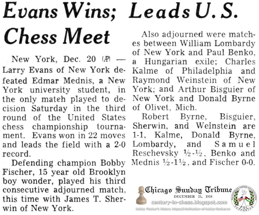 Evans Wins; Leads U.S. Chess Meet
