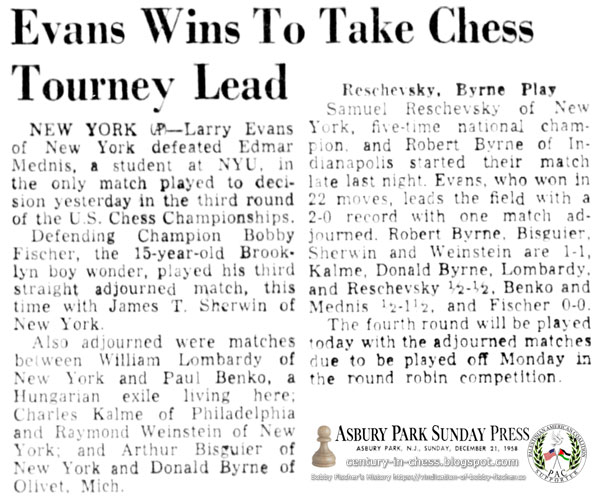 Evans Wins To Take Chess Tourney Lead