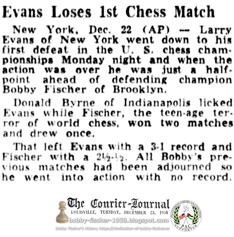 Evans Loses 1st Chess Match