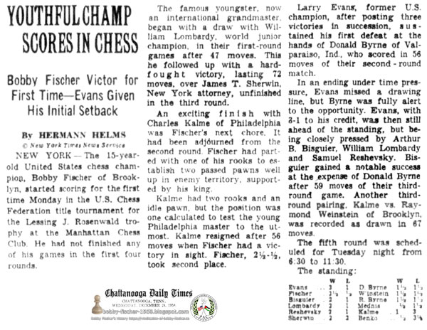 Youthful Champ Scores In Chess - Bobby Fischer Victor for First Time—Evans Given His Initial Setback