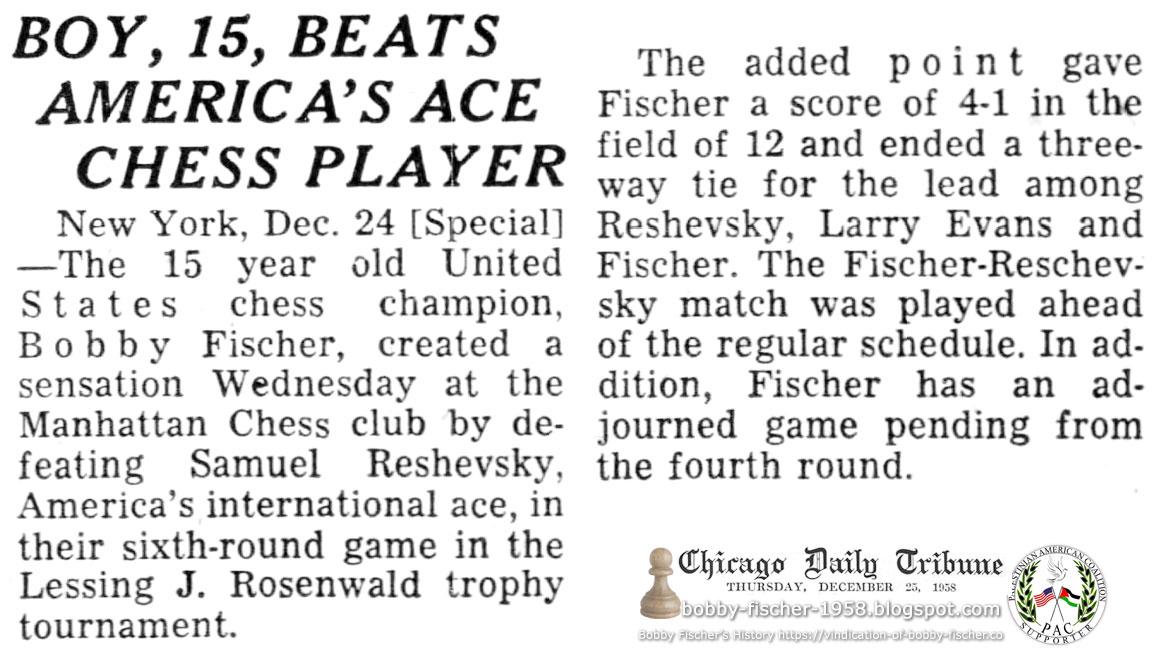 Boy, 15, Beats America's Ace Chess Player
