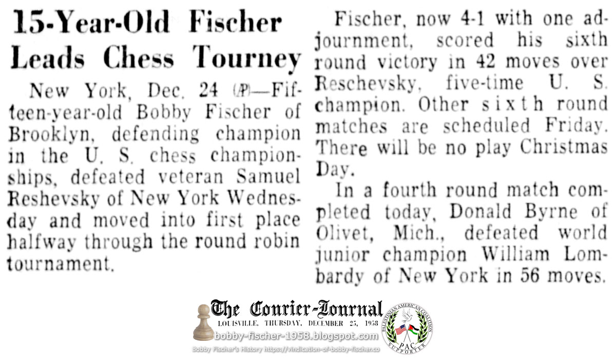15-Year-Old Fischer Leads Chess Tourney