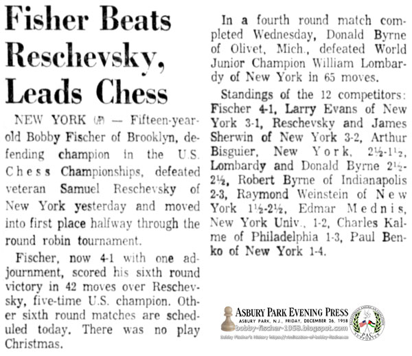 Fischer Beats Reschevsky, Leads Chess