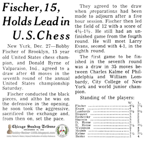 Fischer, 15, Holds Lead in U.S. Chess