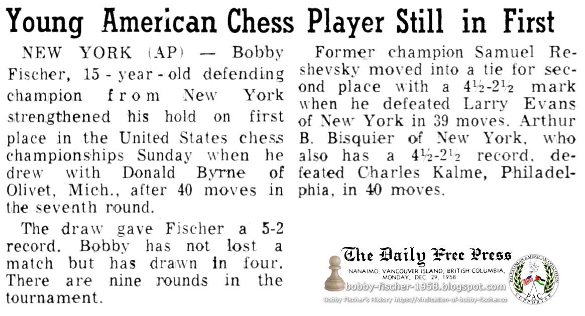 Young American Chess Player Still in First