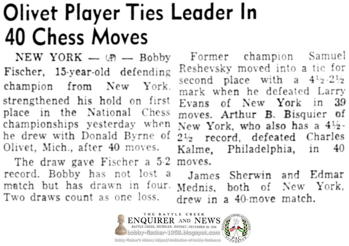 Olivet Player Ties Leader In 40 Chess Moves