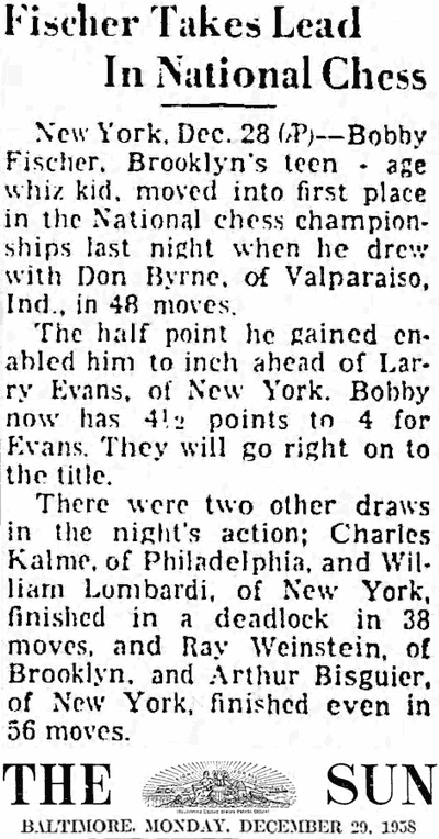 Bobby Fischer 1958 News Article