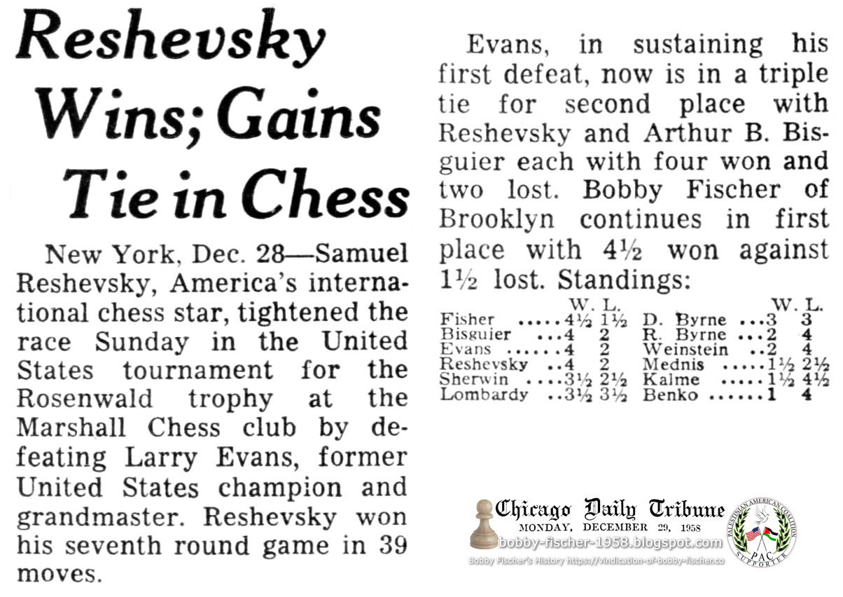 Bobby Fischer Continues in First Place