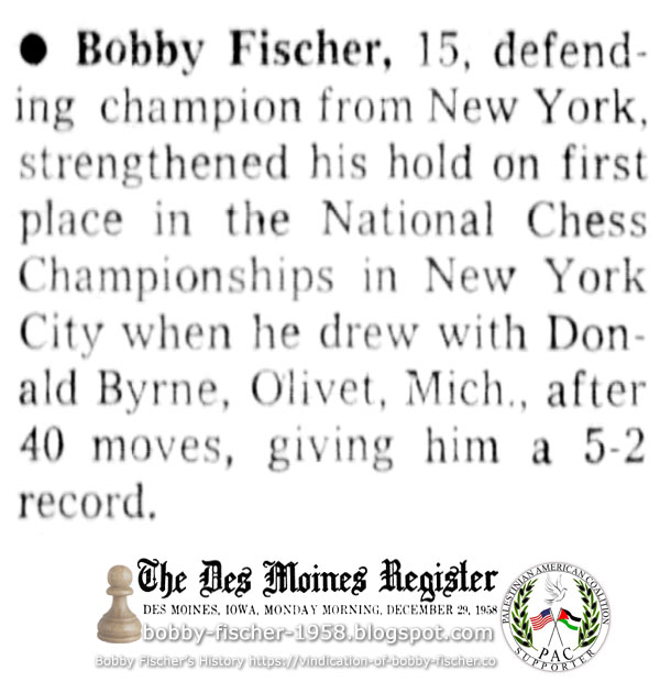 Bobby Fischer Strengthens Hold on First Place