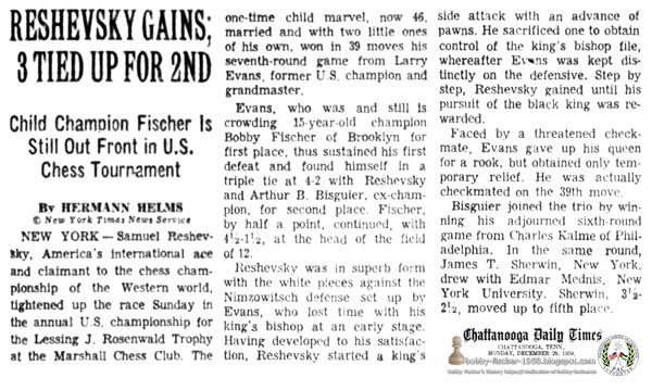 Reshevsky Gains; 3 Tied Up For 2nd - Child Champion Fischer Is Still Out Front in U.S. Chess Tournament