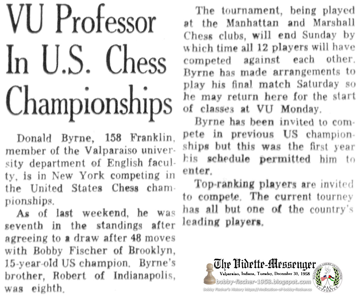 VU Professor In U.S. Chess Championships