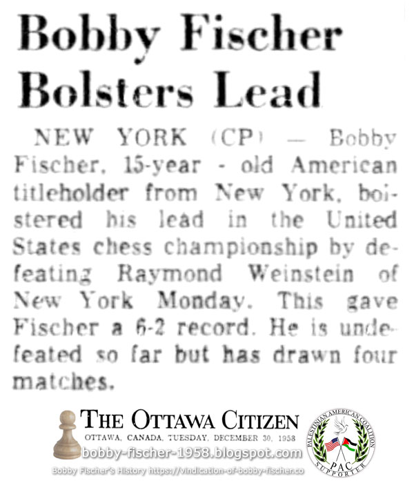 Bobby Fischer Bolsters Lead