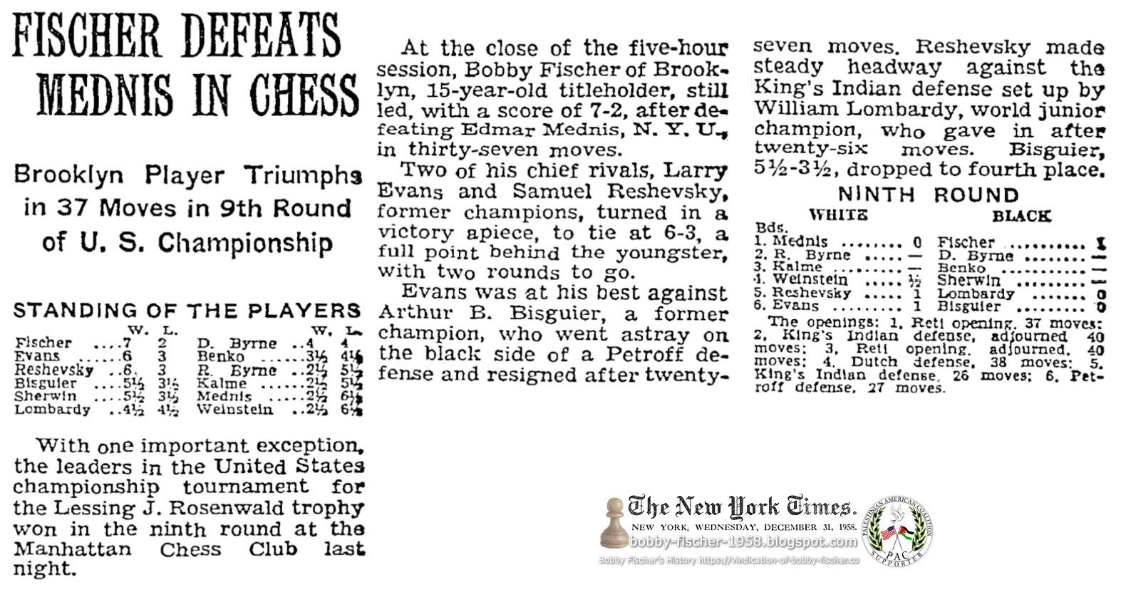Fischer Defeats Mednis In Chess