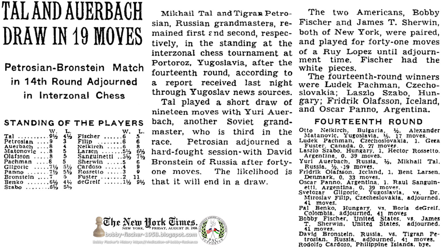 Tal And Auerbach Draw In 19 Moves