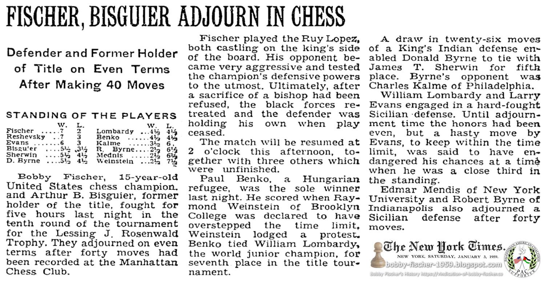 Fischer, Bisguier Adjourn In Chess