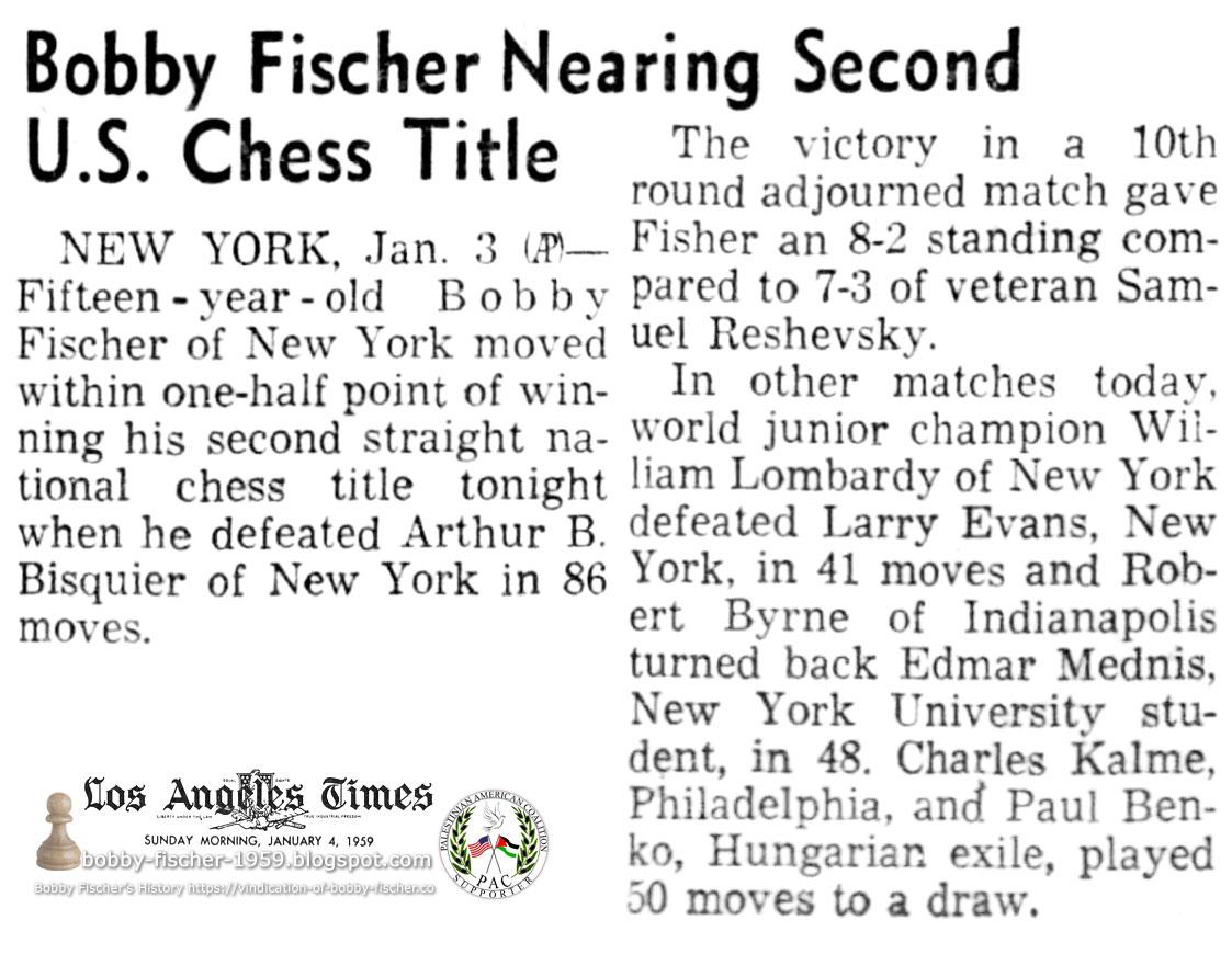 Bobby Fischer Nearing Second U.S. Chess Title